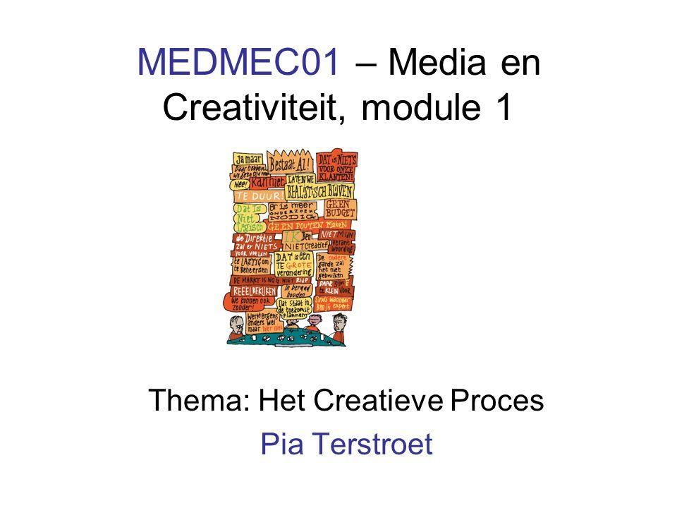 MEDMEC01 – Media en Creativiteit, module 1 Thema: Het Creatieve Proces Pia Terstroet