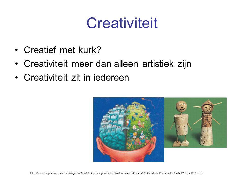Creativiteit Creatief met kurk? Creativiteit meer dan alleen artistiek zijn Creativiteit zit in iedereen http://www.loopbaan.nl/site/Trainingen%20en%2