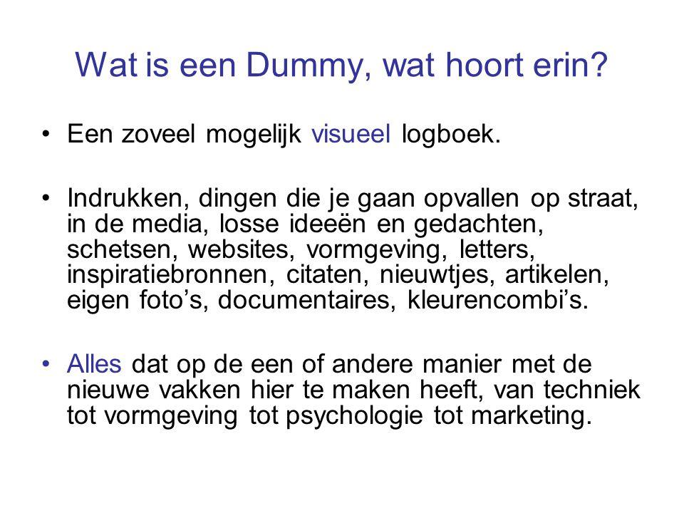 Wat is een Dummy, wat hoort erin? Een zoveel mogelijk visueel logboek. Indrukken, dingen die je gaan opvallen op straat, in de media, losse ideeën en
