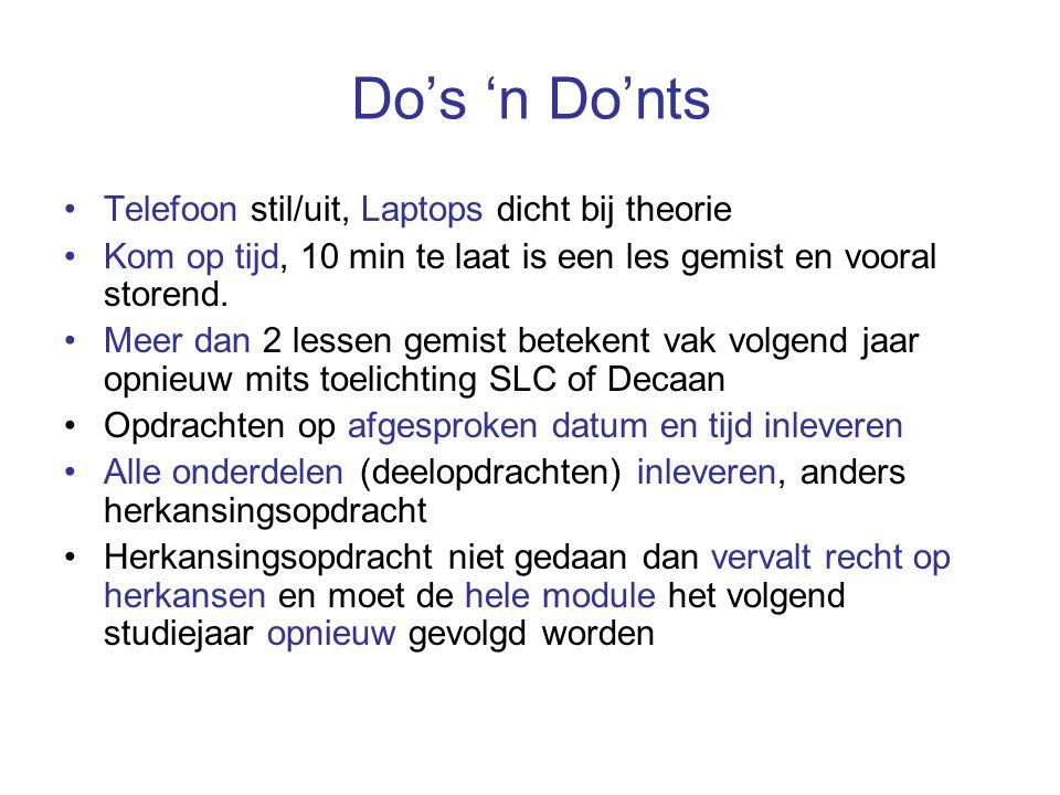Do's 'n Do'nts Telefoon stil/uit, Laptops dicht bij theorie Kom op tijd, 10 min te laat is een les gemist en vooral storend. Meer dan 2 lessen gemist