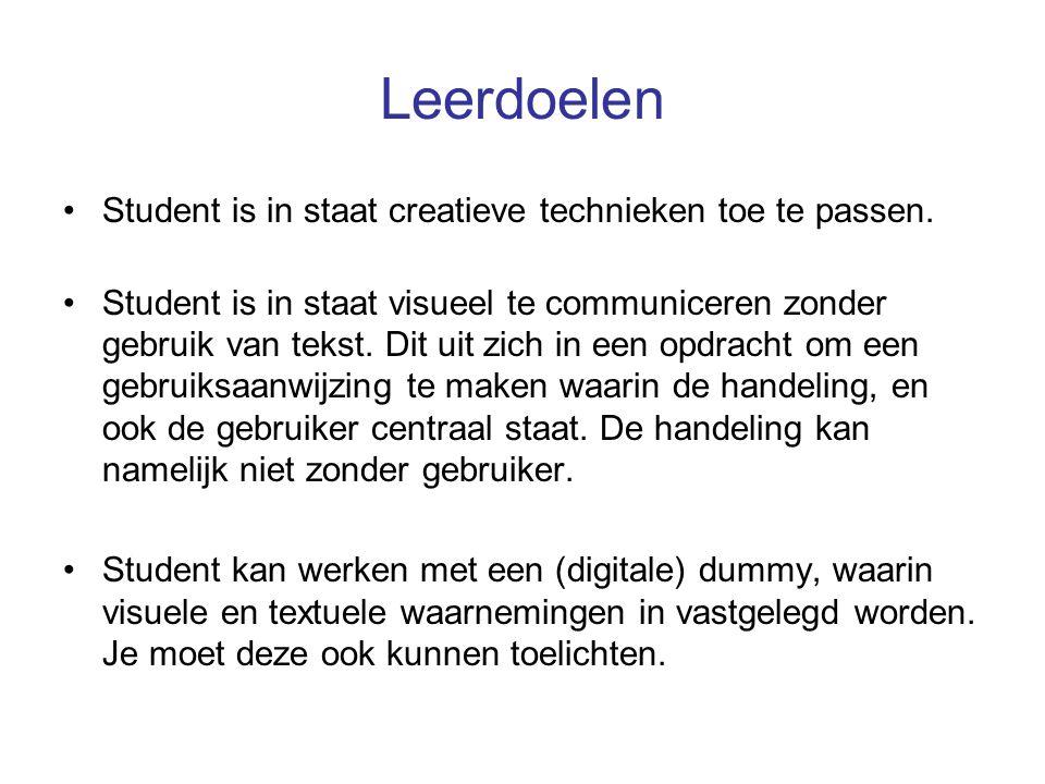 Leerdoelen Student is in staat creatieve technieken toe te passen. Student is in staat visueel te communiceren zonder gebruik van tekst. Dit uit zich