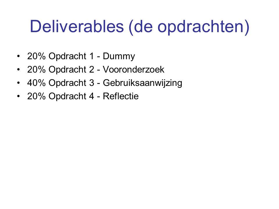 Deliverables (de opdrachten) 20% Opdracht 1 - Dummy 20% Opdracht 2 - Vooronderzoek 40% Opdracht 3 - Gebruiksaanwijzing 20% Opdracht 4 - Reflectie