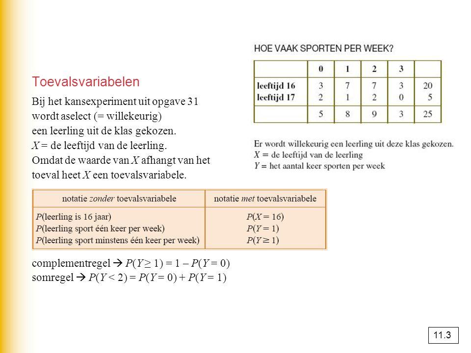 Kansverdelingen De kansverdeling van X is een tabel waarin bij elke waarde van X de bijbehorende kans is vermeld.