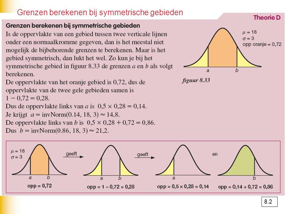 Grenzen berekenen bij symmetrische gebieden 8.2