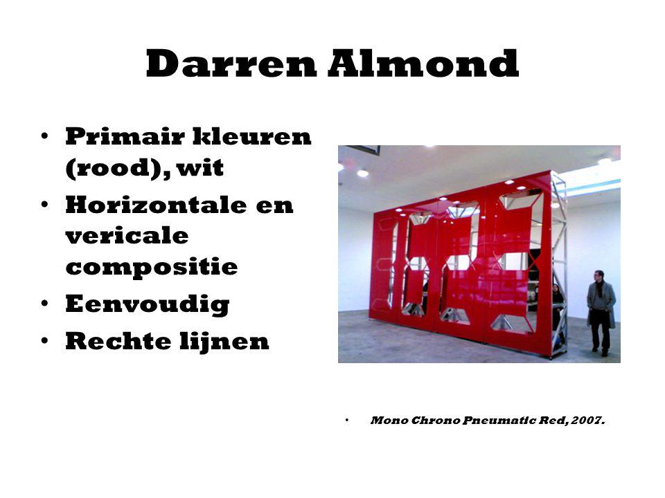 Darren Almond Primair kleuren (rood), wit Horizontale en vericale compositie Eenvoudig Rechte lijnen Mono Chrono Pneumatic Red, 2007.