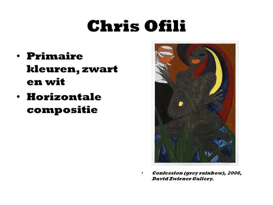 Chris Ofili Primaire kleuren, zwart en wit Horizontale compositie Confession (grey rainbow), 2006, David Zwirner Gallery.