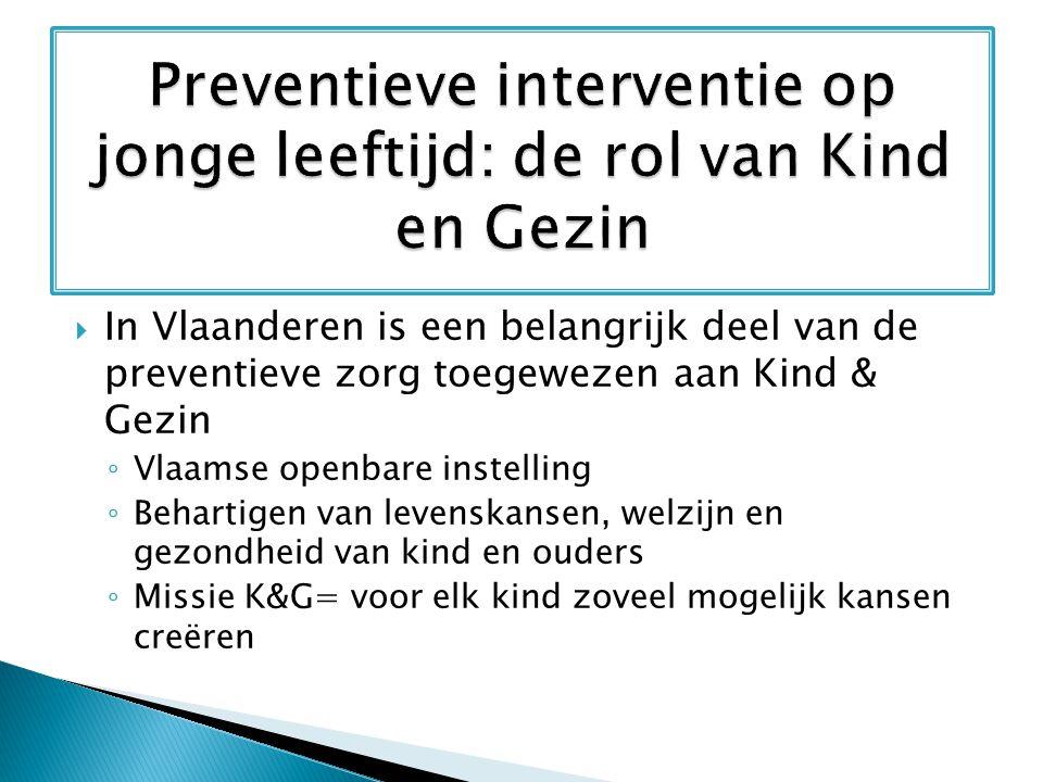  In Vlaanderen is een belangrijk deel van de preventieve zorg toegewezen aan Kind & Gezin ◦ Vlaamse openbare instelling ◦ Behartigen van levenskansen
