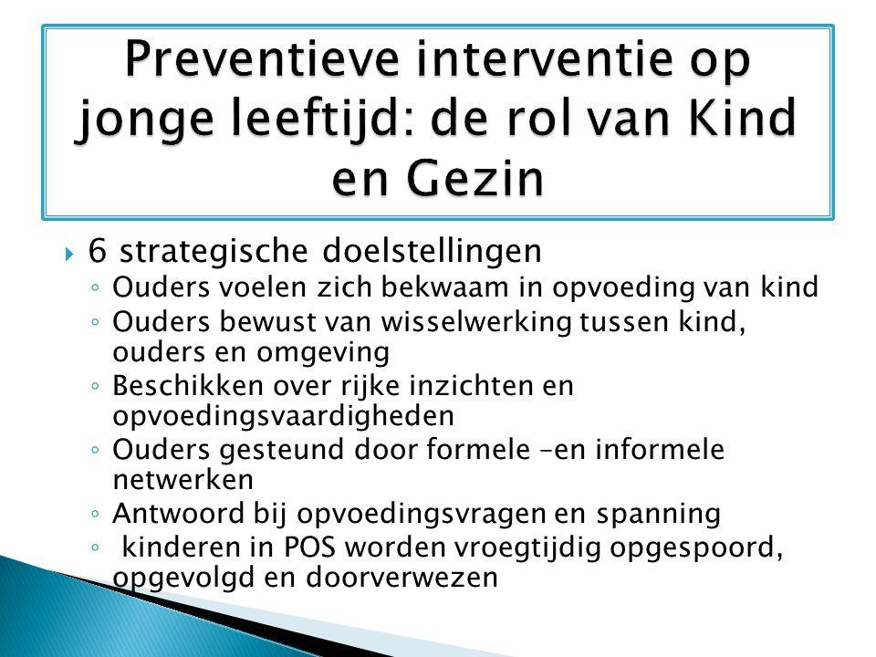  Kenmerken van vroegtijdige interventies  Niveaus van preventieve interventies  Moment van interveniëren