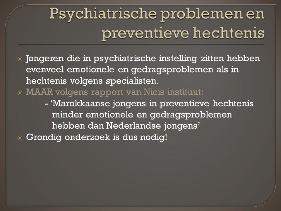 Jongeren die in psychiatrische instelling zitten hebben evenveel emotionele en gedragsproblemen als in hechtenis volgens specialisten.