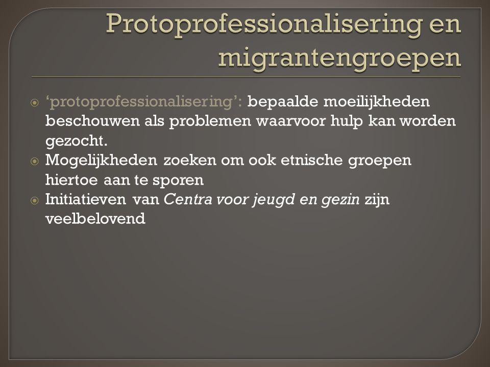  'protoprofessionalisering': bepaalde moeilijkheden beschouwen als problemen waarvoor hulp kan worden gezocht.  Mogelijkheden zoeken om ook etnische