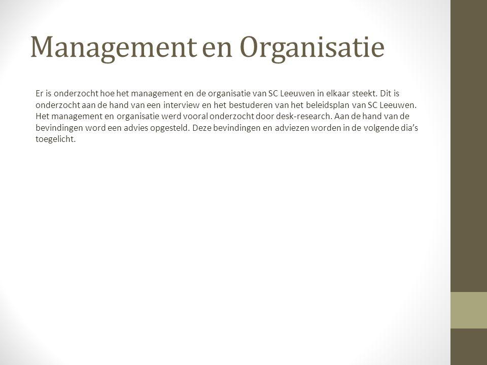 Management en Organisatie Er is onderzocht hoe het management en de organisatie van SC Leeuwen in elkaar steekt.