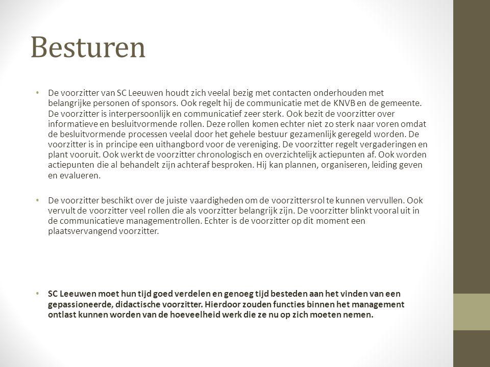 Besturen De voorzitter van SC Leeuwen houdt zich veelal bezig met contacten onderhouden met belangrijke personen of sponsors.