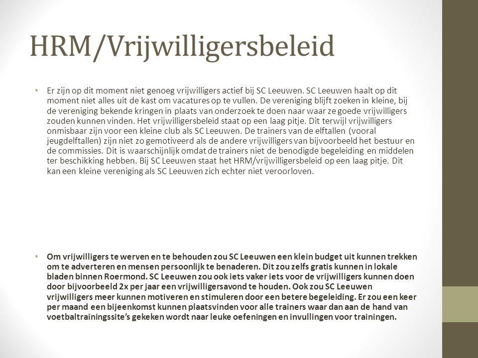 HRM/Vrijwilligersbeleid Er zijn op dit moment niet genoeg vrijwilligers actief bij SC Leeuwen.