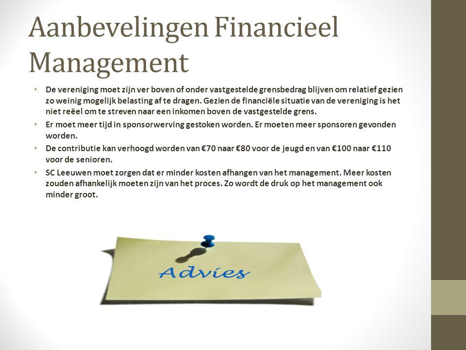 Aanbevelingen Financieel Management De vereniging moet zijn ver boven of onder vastgestelde grensbedrag blijven om relatief gezien zo weinig mogelijk belasting af te dragen.