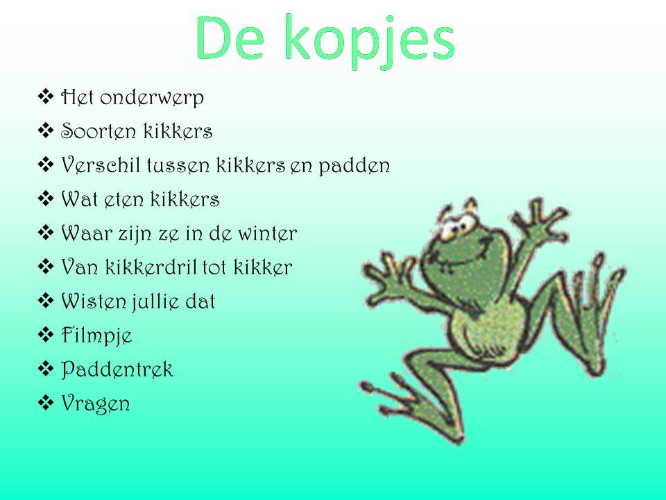  Het onderwerp  Soorten kikkers  Verschil tussen kikkers en padden  Wat eten kikkers  Waar zijn ze in de winter  Van kikkerdril tot kikker  Wis