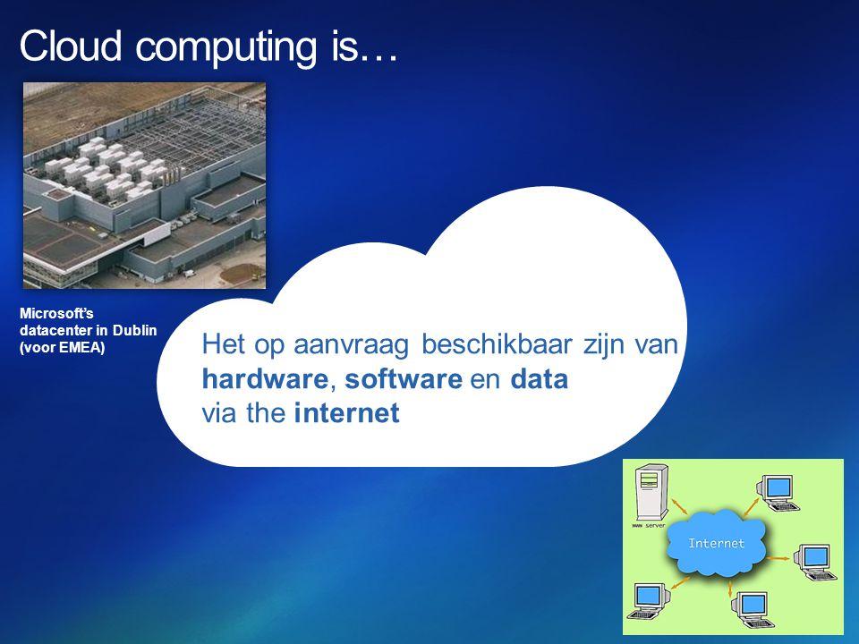Het op aanvraag beschikbaar zijn van hardware, software en data via the internet Microsoft's datacenter in Dublin (voor EMEA)