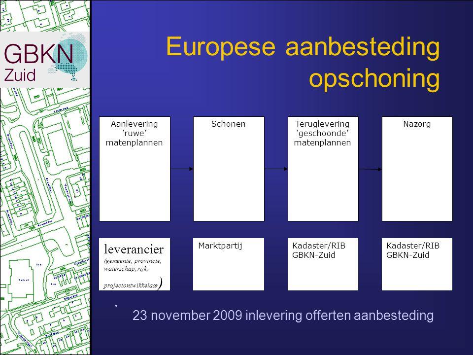 Europese aanbesteding opschoning Aanlevering 'ruwe' matenplannen SchonenTeruglevering 'geschoonde' matenplannen Nazorg leverancier (gemeente, provinci
