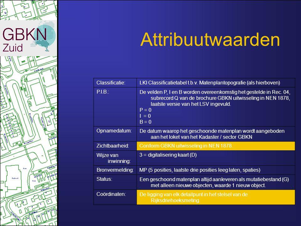 Attribuutwaarden Classificatie:LKI Classificatietabel t.b.v. Matenplantopografie (als hierboven) P.I.B.:De velden P, I en B worden overeenkomstig het