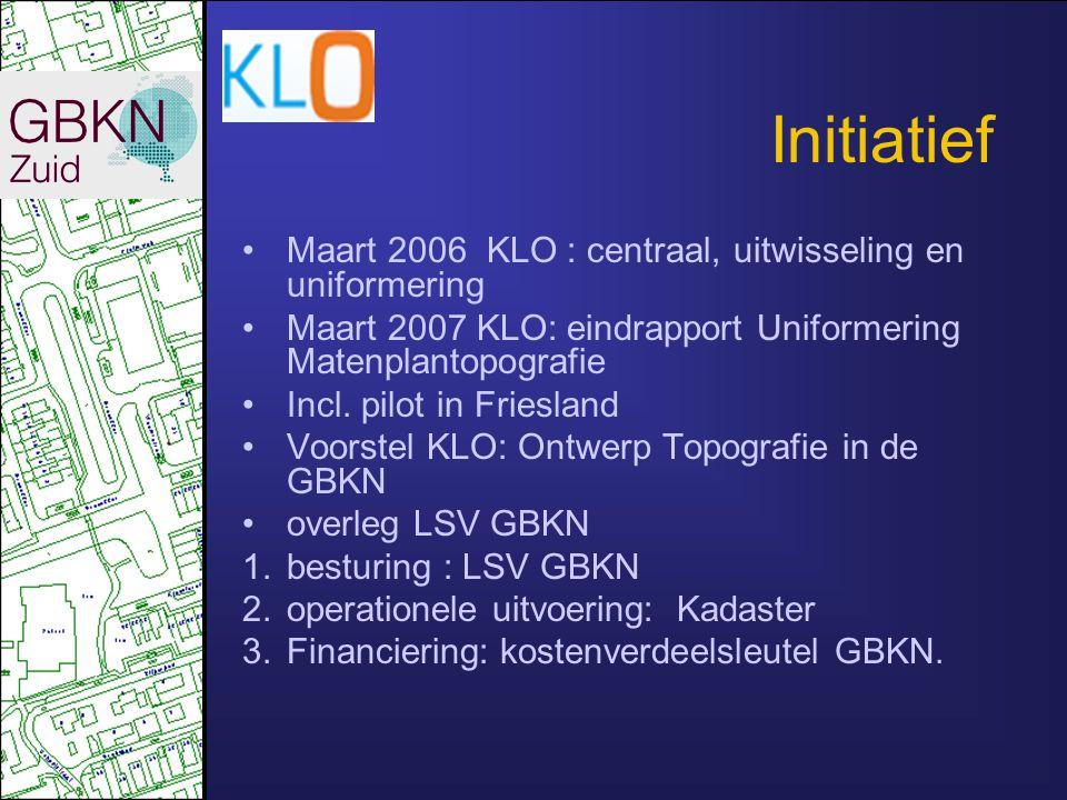 Initiatief Maart 2006 KLO : centraal, uitwisseling en uniformering Maart 2007 KLO: eindrapport Uniformering Matenplantopografie Incl. pilot in Friesla