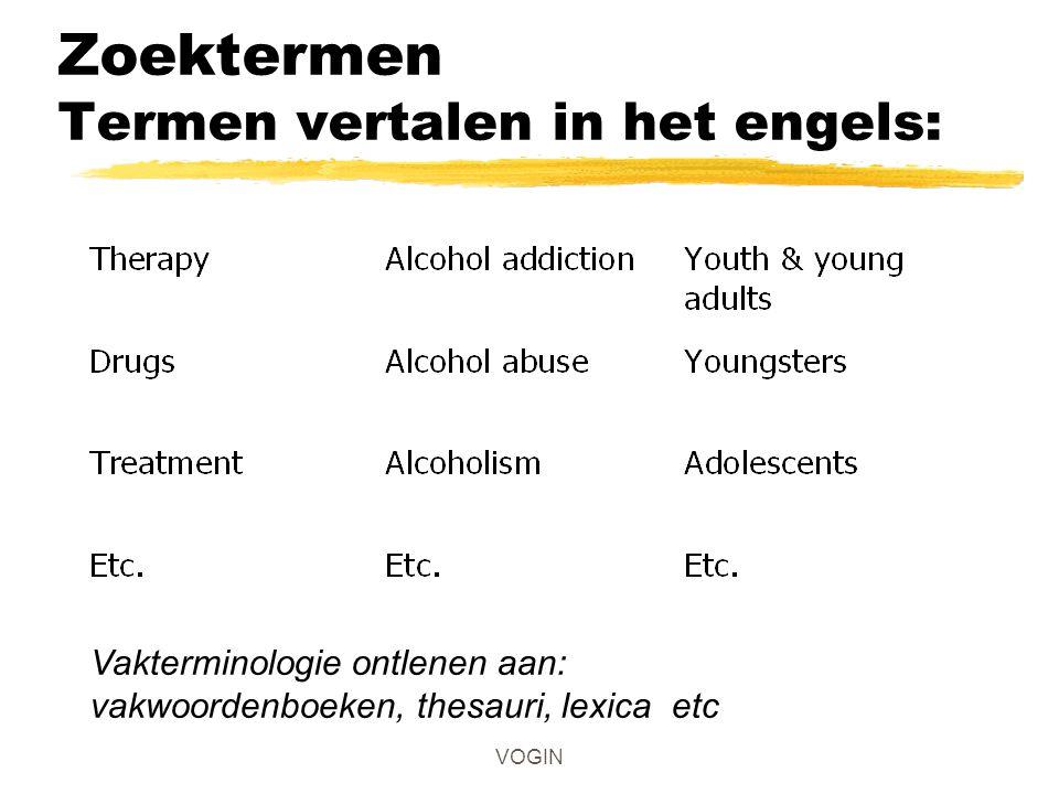 VOGIN Zoektermen Termen vertalen in het engels: Vakterminologie ontlenen aan: vakwoordenboeken, thesauri, lexica etc