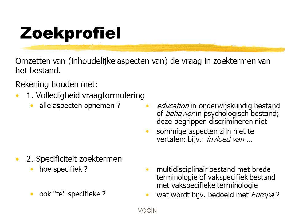 VOGIN Zoekprofiel Rekening houden met: 1. Volledigheid vraagformulering alle aspecten opnemen .