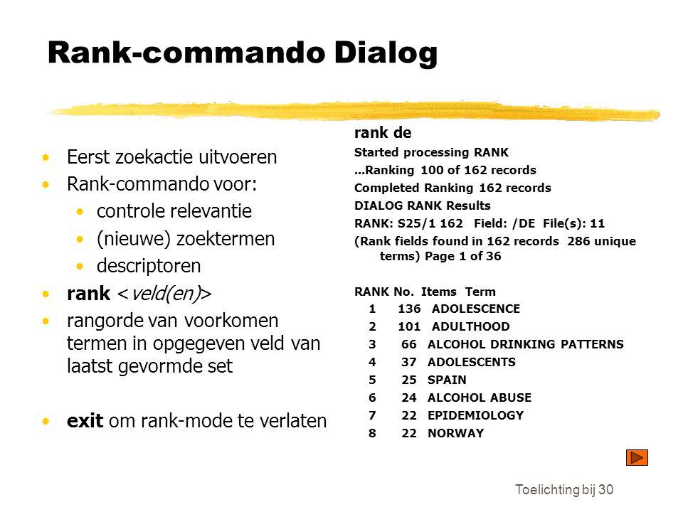 Rank-commando Dialog Eerst zoekactie uitvoeren Rank-commando voor: controle relevantie (nieuwe) zoektermen descriptoren rank rangorde van voorkomen termen in opgegeven veld van laatst gevormde set exit om rank-mode te verlaten rank de Started processing RANK...Ranking 100 of 162 records Completed Ranking 162 records DIALOG RANK Results RANK: S25/1 162 Field: /DE File(s): 11 (Rank fields found in 162 records 286 unique terms) Page 1 of 36 RANK No.