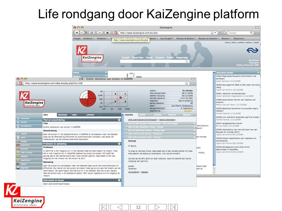 12 Introductie Kaizengine Life rondgang door KaiZengine platform 12