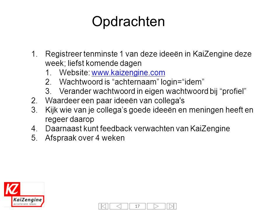 17 Opdrachten 1.Registreer tenminste 1 van deze ideeën in KaiZengine deze week; liefst komende dagen 1.Website: www.kaizengine.comwww.kaizengine.com 2