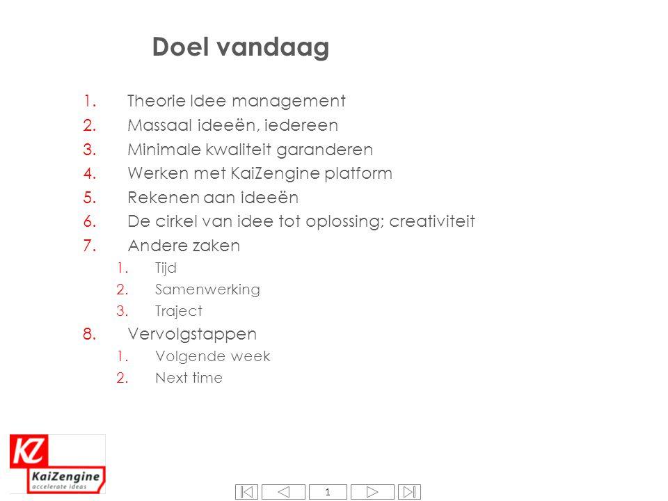 1 Doel vandaag 1.Theorie Idee management 2.Massaal ideeën, iedereen 3.Minimale kwaliteit garanderen 4.Werken met KaiZengine platform 5.Rekenen aan ide