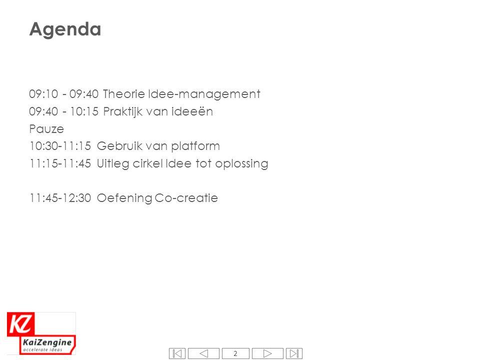 2 Agenda 09:10 - 09:40 Theorie Idee-management 09:40 - 10:15 Praktijk van ideeën Pauze 10:30-11:15 Gebruik van platform 11:15-11:45 Uitleg cirkel Idee