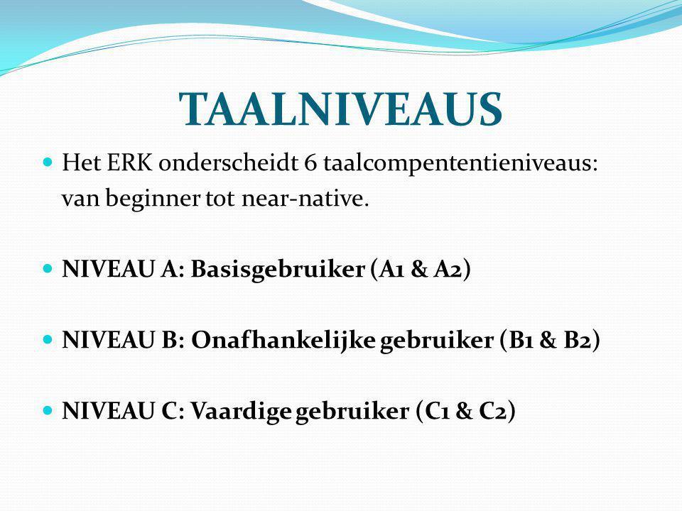 TAALNIVEAUS Het ERK onderscheidt 6 taalcompententieniveaus: van beginner tot near-native. NIVEAU A: Basisgebruiker (A1 & A2) NIVEAU B: Onafhankelijke