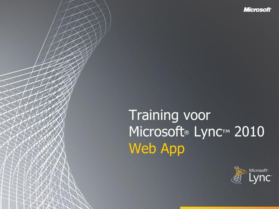 Doelstellingen In deze cursus maakt u kennis met Microsoft Lync Web App en worden de volgende onderwerpen behandeld: Overzicht van Lync Web App Deelnemen aan een onlinevergadering Meer deelnemers uitnodigen Toepassingen delen Logboeken aan de clientzijde ophalen Bijlage