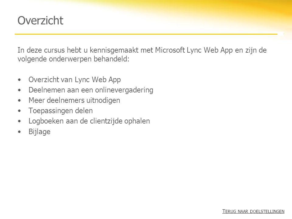 Overzicht In deze cursus hebt u kennisgemaakt met Microsoft Lync Web App en zijn de volgende onderwerpen behandeld: Overzicht van Lync Web App Deelnem