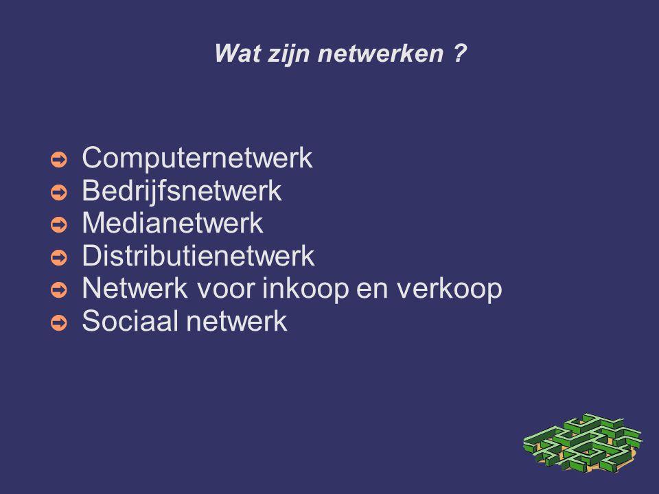 Wat zijn netwerken ? ➲ Computernetwerk ➲ Bedrijfsnetwerk ➲ Medianetwerk ➲ Distributienetwerk ➲ Netwerk voor inkoop en verkoop ➲ Sociaal netwerk