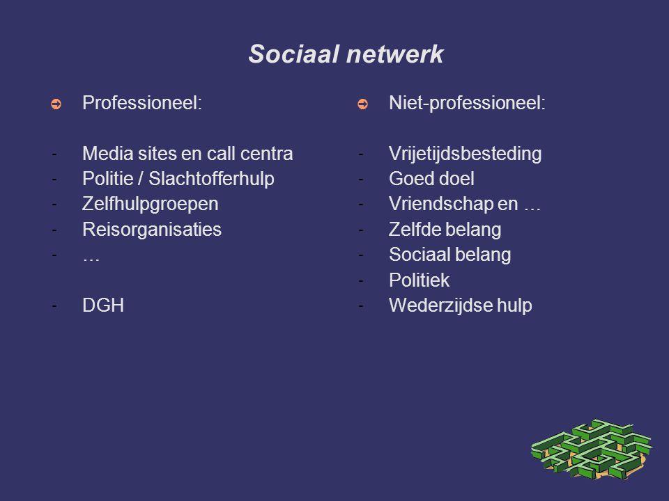 Sociaal netwerk ➲ Professioneel: - Media sites en call centra - Politie / Slachtofferhulp - Zelfhulpgroepen - Reisorganisaties - … - DGH ➲ Niet-profes