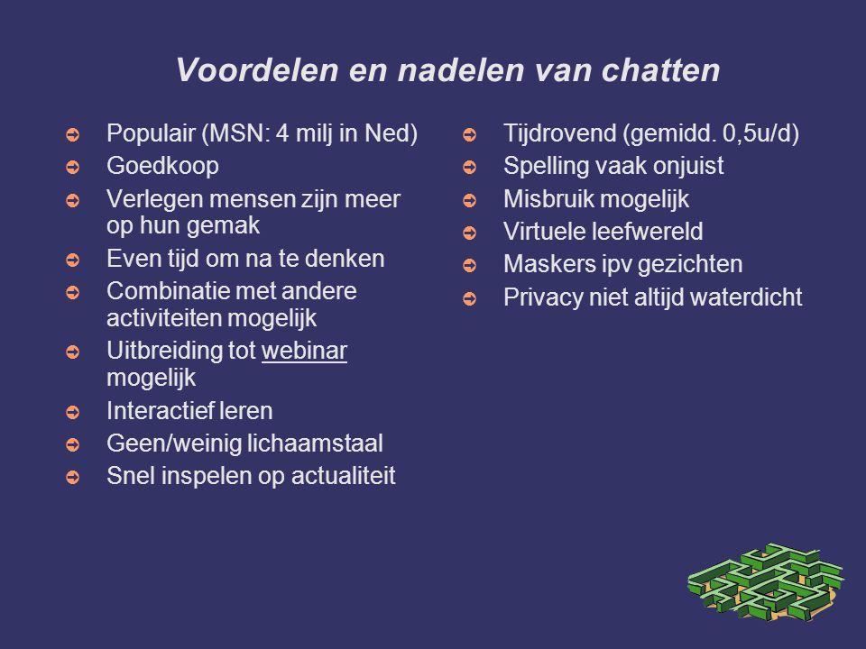 Voordelen en nadelen van chatten ➲ Populair (MSN: 4 milj in Ned) ➲ Goedkoop ➲ Verlegen mensen zijn meer op hun gemak ➲ Even tijd om na te denken ➲ Com