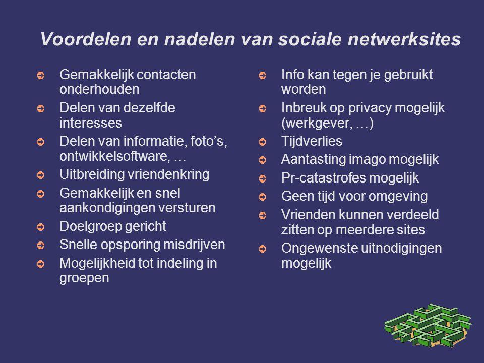 Voordelen en nadelen van sociale netwerksites ➲ Gemakkelijk contacten onderhouden ➲ Delen van dezelfde interesses ➲ Delen van informatie, foto's, ontw