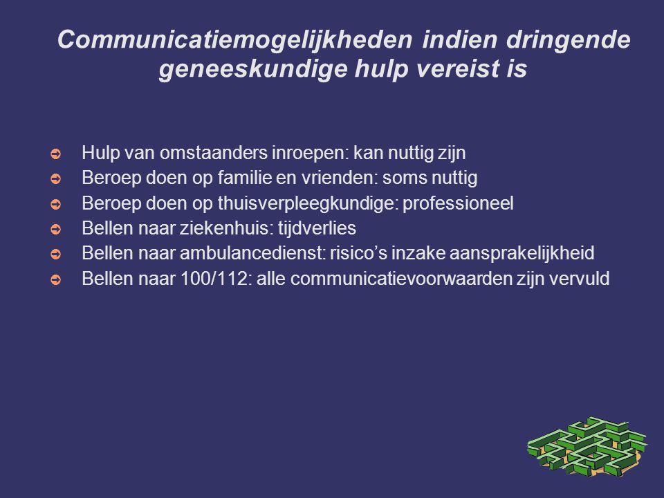 Communicatiemogelijkheden indien dringende geneeskundige hulp vereist is ➲ Hulp van omstaanders inroepen: kan nuttig zijn ➲ Beroep doen op familie en