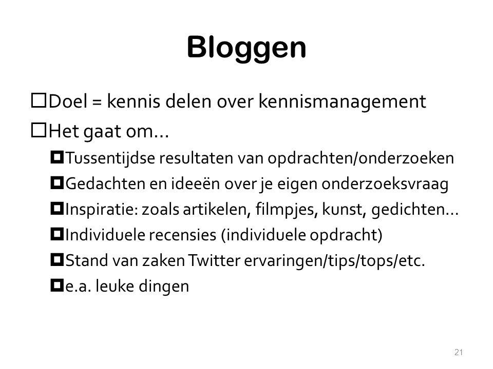 Bloggen  Doel = kennis delen over kennismanagement  Het gaat om…  Tussentijdse resultaten van opdrachten/onderzoeken  Gedachten en ideeën over je