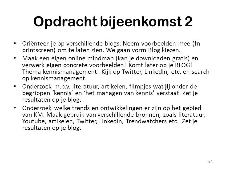 Opdracht bijeenkomst 2 Oriënteer je op verschillende blogs. Neem voorbeelden mee (fn printscreen) om te laten zien. We gaan vorm Blog kiezen. Maak een