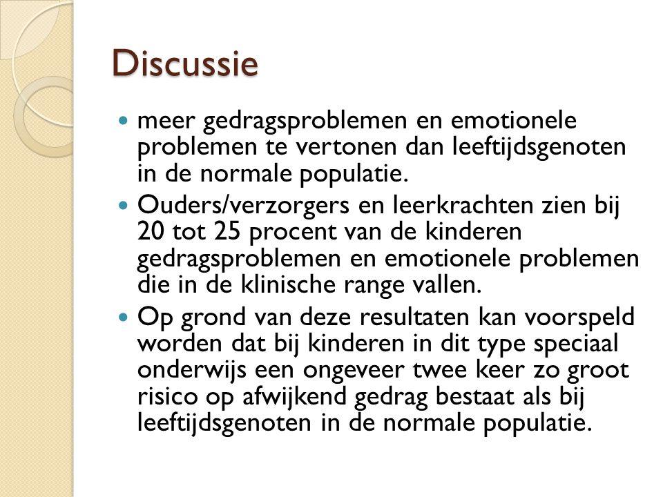 Discussie meer gedragsproblemen en emotionele problemen te vertonen dan leeftijdsgenoten in de normale populatie. Ouders/verzorgers en leerkrachten zi