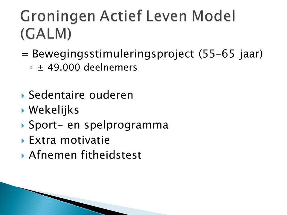 = Bewegingsstimuleringsproject (55–65 jaar) ◦ ± 49.000 deelnemers  Sedentaire ouderen  Wekelijks  Sport- en spelprogramma  Extra motivatie  Afnem