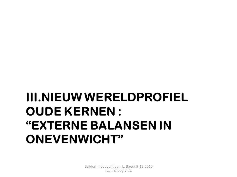 """III.NIEUW WERELDPROFIEL OUDE KERNEN : """"EXTERNE BALANSEN IN ONEVENWICHT"""" Babbel in de Jachtlaan, L. Baeck 9-12-2010 www.lscoop.com"""