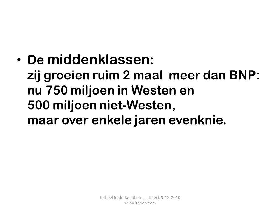 De middenklassen : zij groeien ruim 2 maal meer dan BNP: nu 750 miljoen in Westen en 500 miljoen niet-Westen, maar over enkele jaren evenknie. Babbel