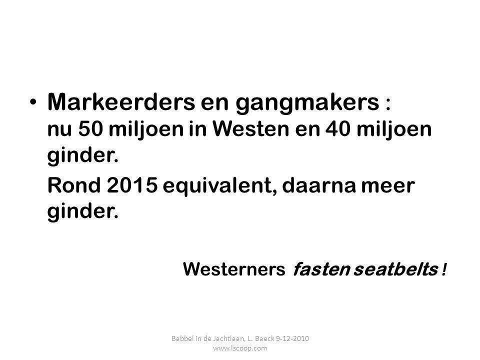 Markeerders en gangmakers : nu 50 miljoen in Westen en 40 miljoen ginder. Rond 2015 equivalent, daarna meer ginder. Westerners fasten seatbelts ! Babb