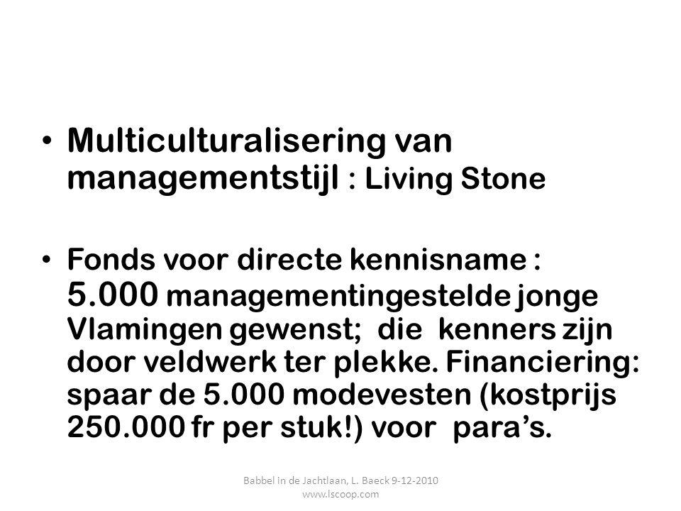 Multiculturalisering van managementstijl : Living Stone Fonds voor directe kennisname : 5.000 managementingestelde jonge Vlamingen gewenst; die kenner