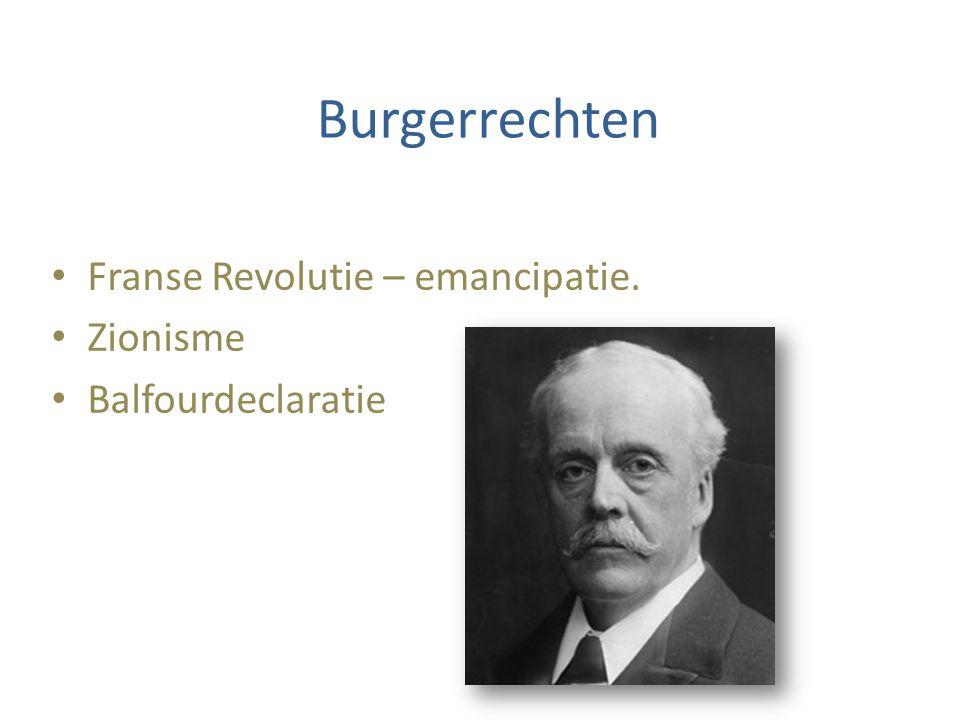Burgerrechten Franse Revolutie – emancipatie. Zionisme Balfourdeclaratie