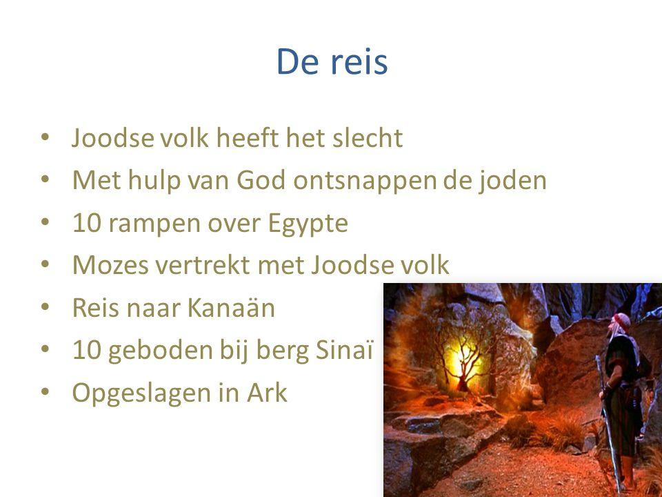 De reis Joodse volk heeft het slecht Met hulp van God ontsnappen de joden 10 rampen over Egypte Mozes vertrekt met Joodse volk Reis naar Kanaän 10 geboden bij berg Sinaï Opgeslagen in Ark