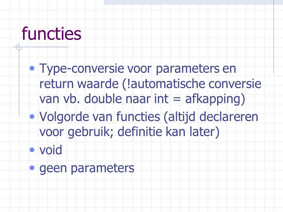functies Type-conversie voor parameters en return waarde (!automatische conversie van vb.