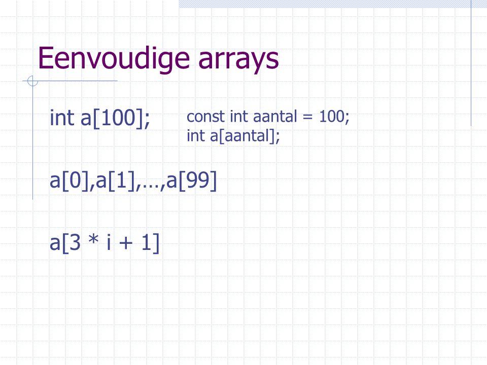 Eenvoudige arrays int a[100]; a[0],a[1],…,a[99] a[3 * i + 1] const int aantal = 100; int a[aantal];